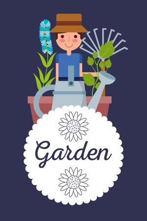 garden badge with gardener man vector