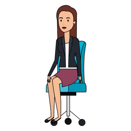 businesswoman posing on office chair vector illustration design