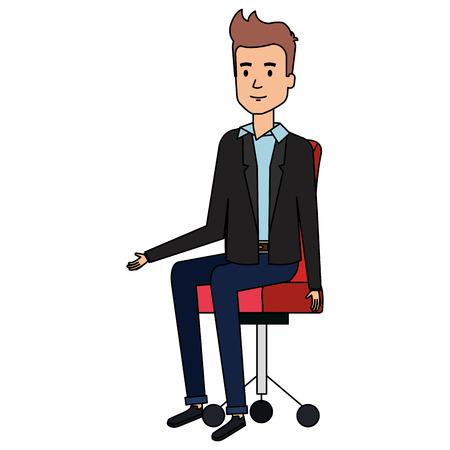 businessman posing on office chair vector illustration design Illustration