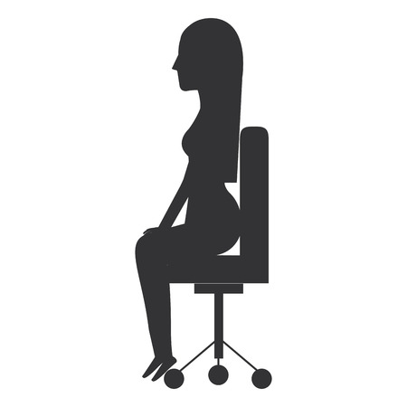 businesswoman posing on office chair vector illustration design