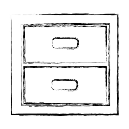 wooden office drawer icon vector illustration design 向量圖像