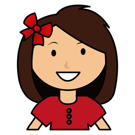 cute and little girl with bow vector illustration design Illustration