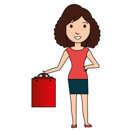 beautiful woman with shopping bag vector illustration design