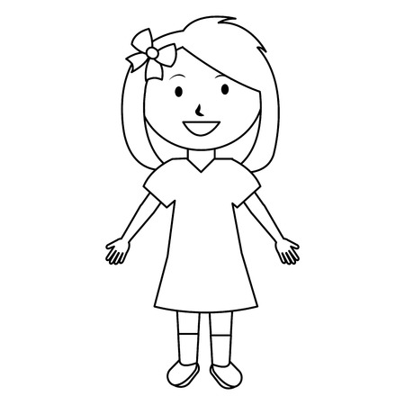 cute and little girl with bow vector illustration design 일러스트