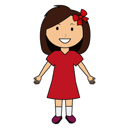 cute and little girl with bow vector illustration design Vectores