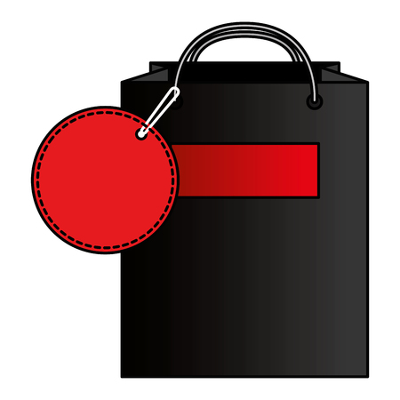 shopping bag with tag vector illustration design