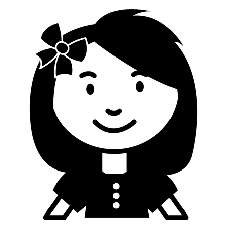 cute and little girl with bow vector illustration design Ilustrace