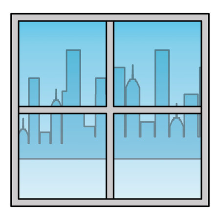 window apartment with cityscape background vector illustration design Illustration