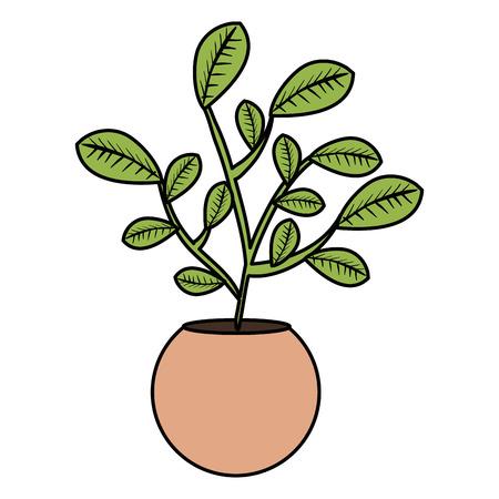 leafs plant in pot natural vector illustration design