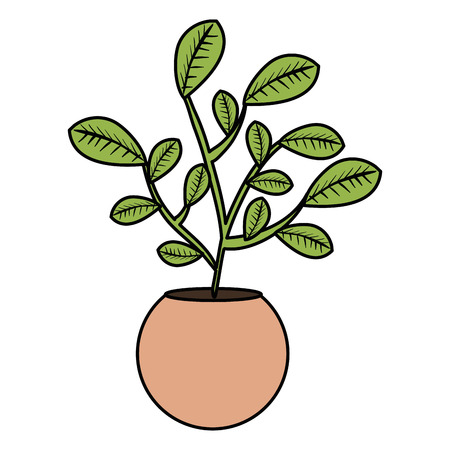 leafs plant in pot natural vector illustration design