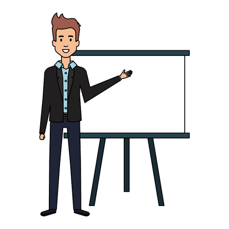 businessman with paperboard training isolated icon vector illustration design