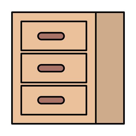 wooden office drawer icon vector illustration design Ilustrace