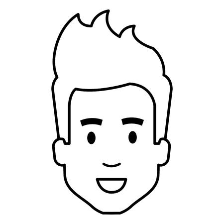 young man head avatar character vector illustration design Ilustração