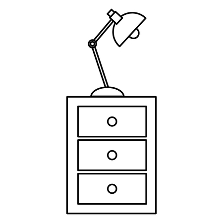 wooden office drawer with lamp vector illustration design