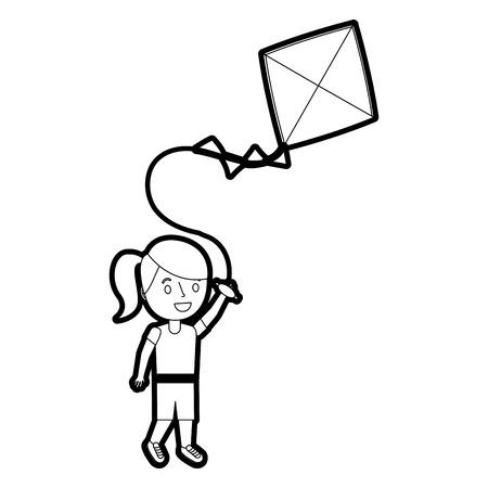陽気なベクターイラストを演奏凧を持つ若い女の子