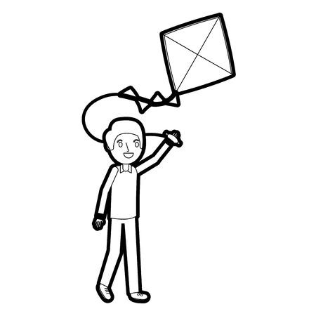 man holding kite funny happy image vector illustration 일러스트