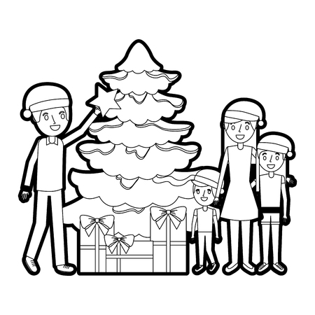 family decorating christmas tree and gift boxes vector illustration