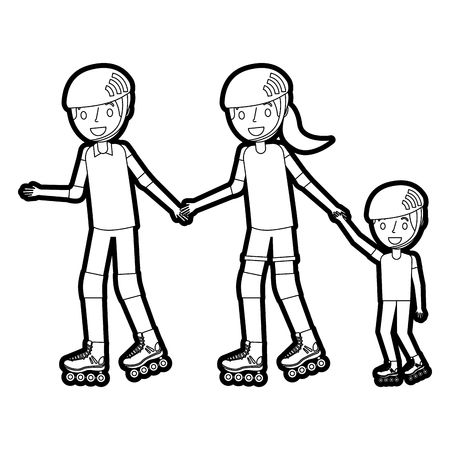 dad mom and son with roller skate and helmet vector illustration