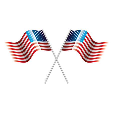 United States of America flags vector illustration