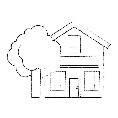 house home exterior with tree leafy natural vector illustration Reklamní fotografie - 96802045