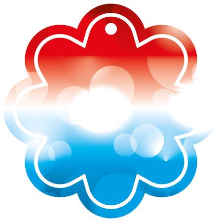 tag shape flower blurred bokeh of american flag vector illustration