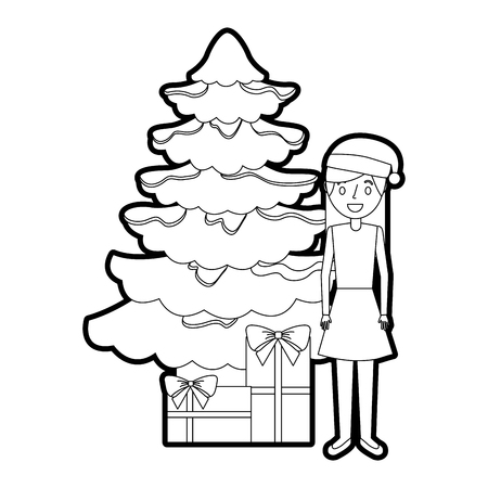 mom standing christmas tree and gift boxes vector