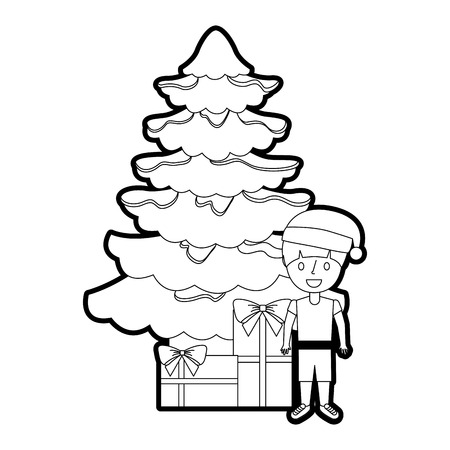 happy kid wearing christmas hat with tree and gifts vector Illustration