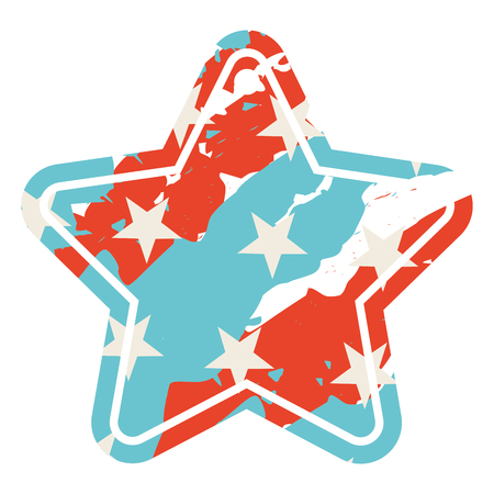 tag with star shape with united states of american flag vintage vector illustration
