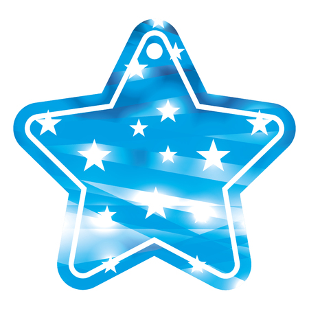 tag shape star and stars abstract blue blurred bokeh background vector illustration