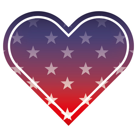 american flag in heart blur design vector illustration