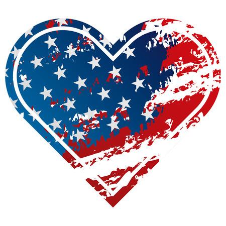 ハートグランジスタイルのアイコンベクトルのイラストでアメリカの旗