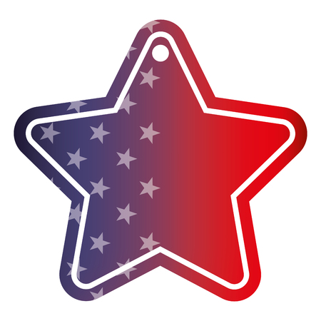 tag with star shape with blurred bokeh of american flag vector illustration 일러스트
