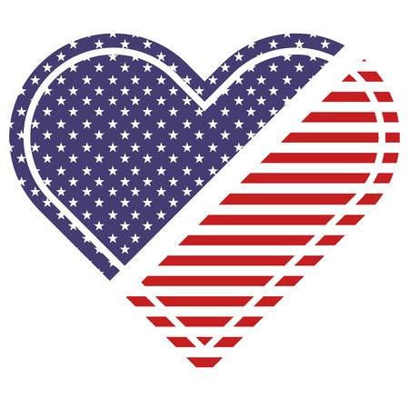 american flag in heart patriotic symbol vector illustration
