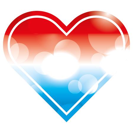 american flag in heart blurred bokeh image vector illustration Illustration