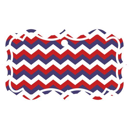 american usa flag patriotic red blue stripes zig zag vector illustration