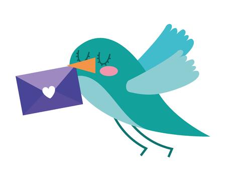 sweet bird with envelope message in beak cartoon vector illustration Иллюстрация