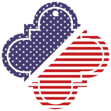 tag hang and american flag vector illustration Vettoriali