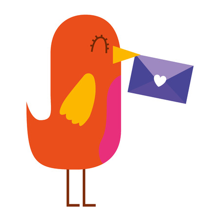 sweet bird with envelope message in beak cartoon vector illustration Illustration