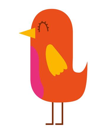 cartoon cute bird adorable animal vector illustration