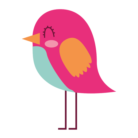 cartoon cute bird adorable animal vector illustration