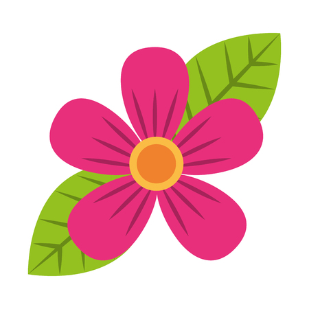 beautiful one flower on leaves decoration vector illustration