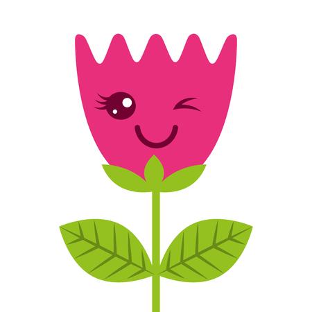 Kawaii wink flower tulip leaves cartoon vector illustration