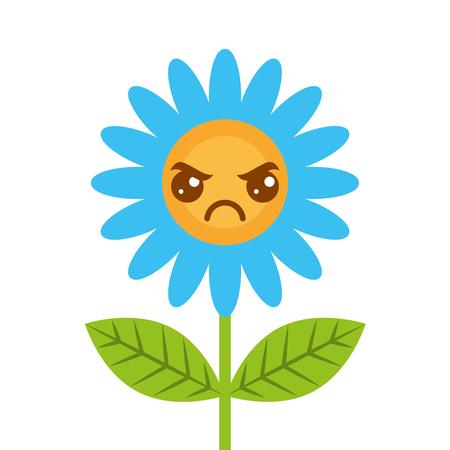 Cute kawaii angry flower decoration cartoon vector illustration