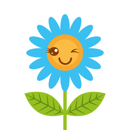 Cute wink kawaii flower decoration cartoon vector illustration