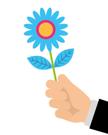 hand of man holding flower romantic gift vector illustration