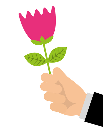hand of man holding tulip flower romantic gift vector illustration