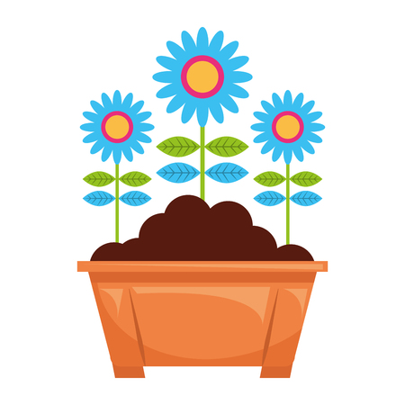 potted flowers natural decoration leaves plant vector illustration Stock fotó - 96803137