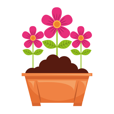 potted flowers natural decoration leaves plant vector illustration 版權商用圖片 - 96803082