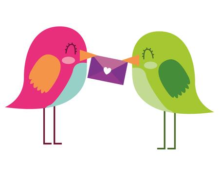 beautiful birds with message in beak lovely vector illustration Çizim