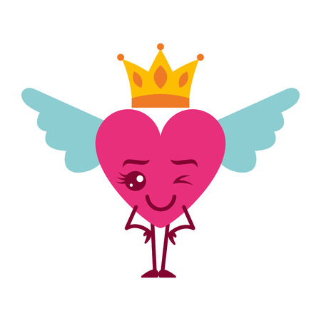 cartoon heart in love wink wings and crown vector illustration Illustration